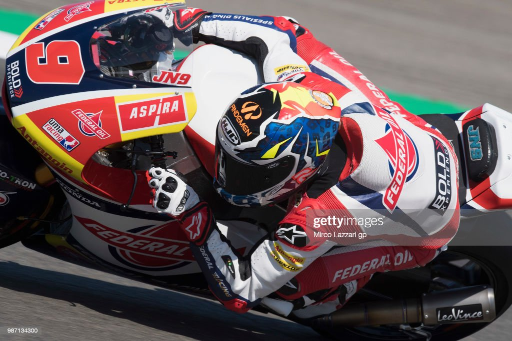 Jorge Navarro of Spain and Federal Oil Gresini Moto2 rounds the bend during the MotoGP Netherlands - Free Practice on June 29, 2018 in Assen, Netherlands.