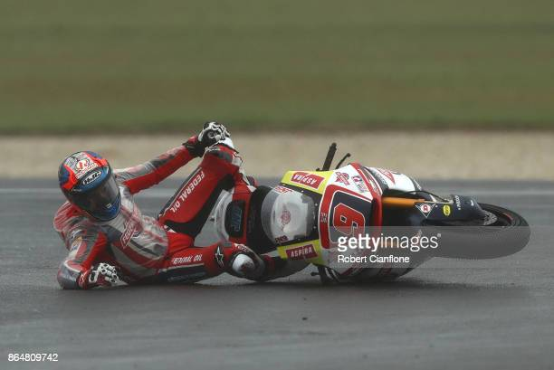 Jorge Navarro of Spain and riding the Federal Oil Gresini Moto2 Kalex crashes during the warm up session during the 2017 MotoGP of Australia at...