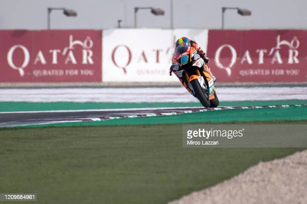 Jorge Navarro of Spain and Speed Up Racing heads down a straight during the Moto2 And Moto3 Tests In Doha Day 3 at Losail Circuit on March 01 2020 in...