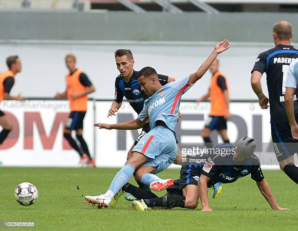 Jorge of Monaco and Klaus Gjasula of Paderborn battle for the ball during the Friendly match between SC Paderborn 07 and AS Monaco at Benteler-Arena...