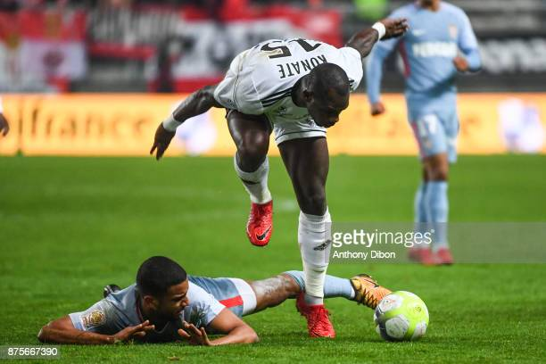 Jorge of Monaco and Moussa Konate of Amiens during the Ligue 1 match between Amiens SC and AS Monaco at Stade de la Licorne on November 17 2017 in...