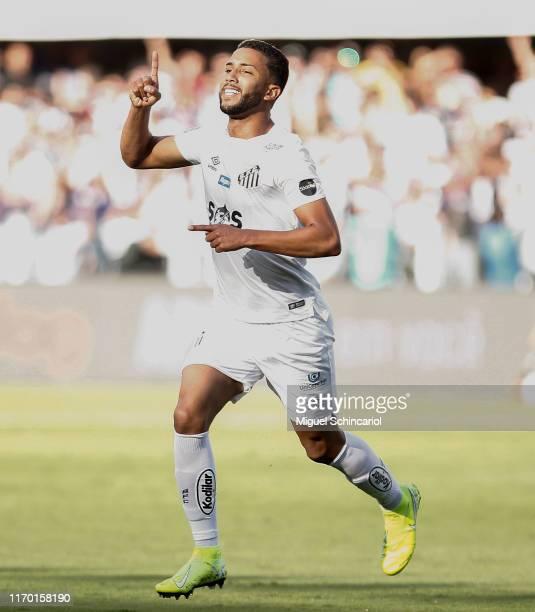 Jorge of Santos celebrates his team second goal during a match between Santos and Fortaleza for the Brasileirao Series A 2019 at Vila Belmiro Stadium...