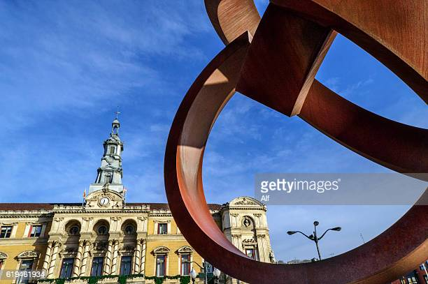 Jorge Oteiza sculpture Alternative Ovoid in fornt of Bilbao City Hall , Biscay, Spain