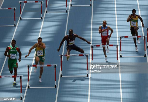 Jorge Paula of Portugal LJ van Zyl of South Africa Kerron Clement of United States Felix Sanchez of Dominican Republic and Isa Phillips of Jamaica...