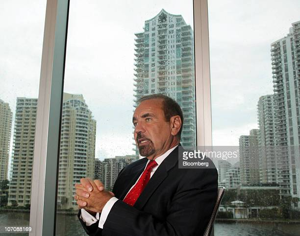 Jorge Perez chairman and chief executive officer of the Related Group of Florida speaks during an interview in his office in Miami Florida US on...