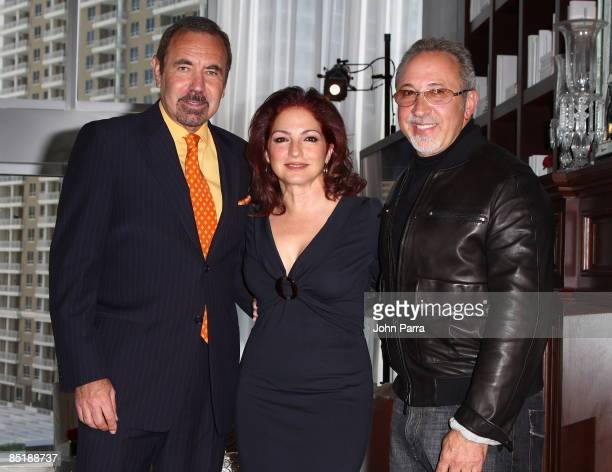 Jorge Perez singer Gloria Estefan and Emilio Estefan during a press conference at Viceroy Miami on March 2 2009 in Miami Florida