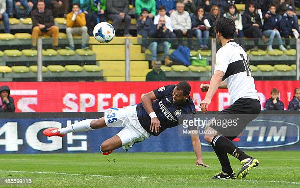 Jorge Pires da Fonseca Rolando of FC Internazionale Milano scores the opening goal during the Serie A match between Parma FC and FC Internazionale...