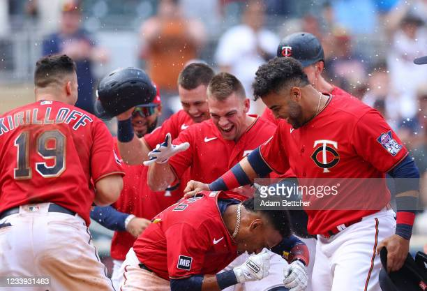 Jorge Polanco of the Minnesota Twins celebrates his walk-off, three-run home run in the tenth inning against the Detroit Tigers at Target Field on...