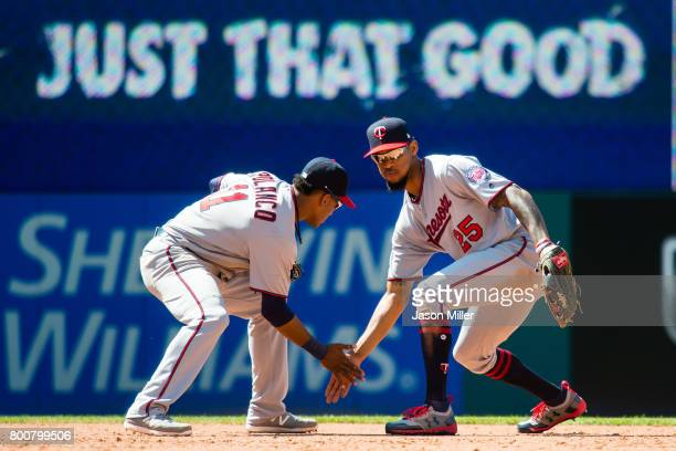 Jorge Polanco and Byron Buxton of the Minnesota Twins celebrate after the Twins defeated the Cleveland Indians at Progressive Field on June 25, 2017...