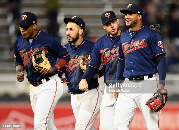 Jorge Polanco Marwin Gonzalez CJ Cron and Jonathan Schoop of the Minnesota Twins celebrate defeating the Houston Astros after the game on May 1 2019...