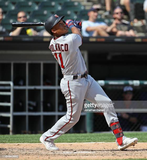 Jorge Polanco of the Minnesota Twins bats against the Chicago White Sox at Guaranteed Rate Field on July 28 2019 in Chicago Illinois The Twins...