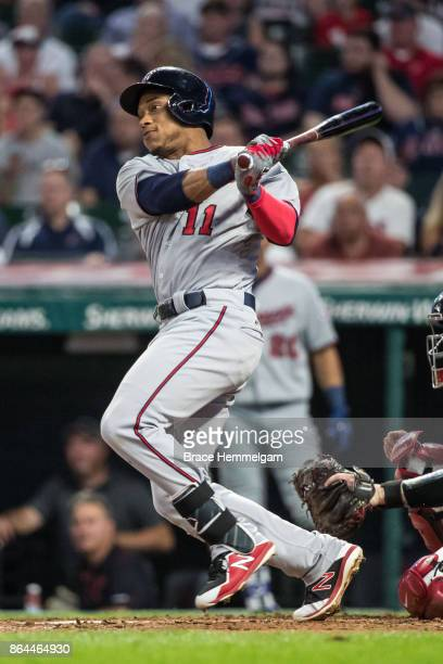 Jorge Polanco of the Minnesota Twins bats against the Cleveland Indians on September 26 2017 at Progressive Field in Cleveland Ohio The Twins...