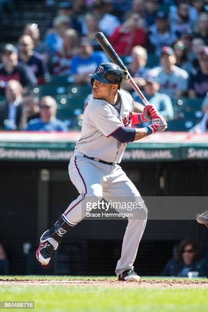 Jorge Polanco of the Minnesota Twins bats against the Cleveland Indians on September 28 2017 at Progressive Field in Cleveland Ohio The Indians...