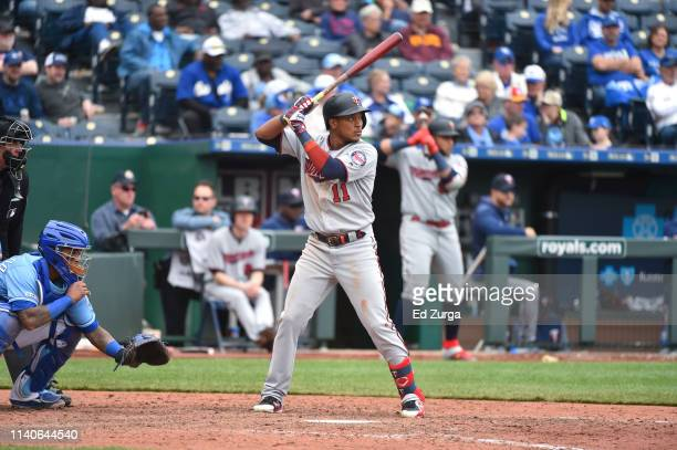 Jorge Polanco of the Minnesota Twins bats against the Kansas City Royals at Kauffman Stadium on April 3 2019 in Kansas City Missouri