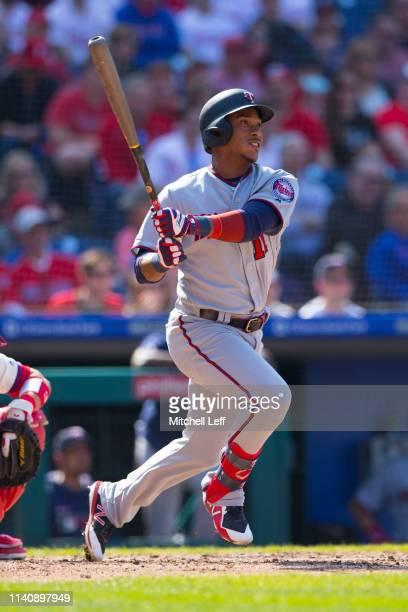 Jorge Polanco of the Minnesota Twins bats against the Philadelphia Phillies at Citizens Bank Park on April 6 2019 in Philadelphia Pennsylvania The...