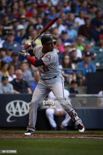 Jorge Polanco of the Minnesota Twins bats in the second inning against the Milwaukee Brewers at Miller Park on July 2 2018 in Milwaukee Wisconsin