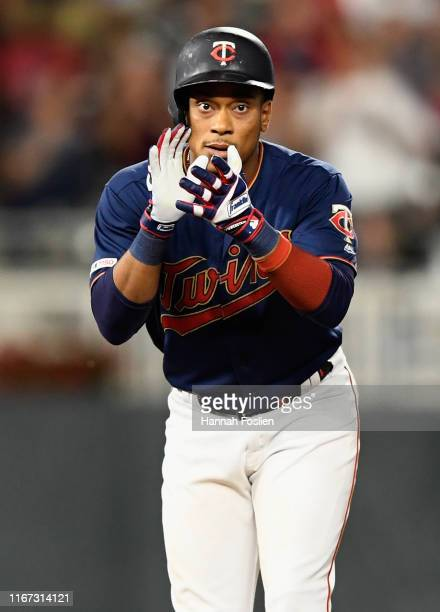 Jorge Polanco of the Minnesota Twins celebrates a tworun double against the Washington Nationals during the eighth inning of the interleague game at...