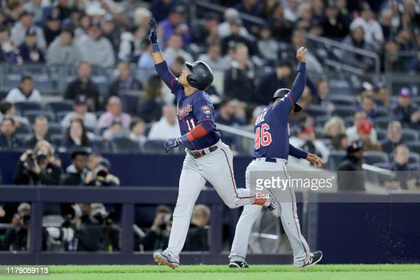 Jorge Polanco of the Minnesota Twins celebrates after hitting a home run against James Paxton of the New York Yankees during the first inning in game...