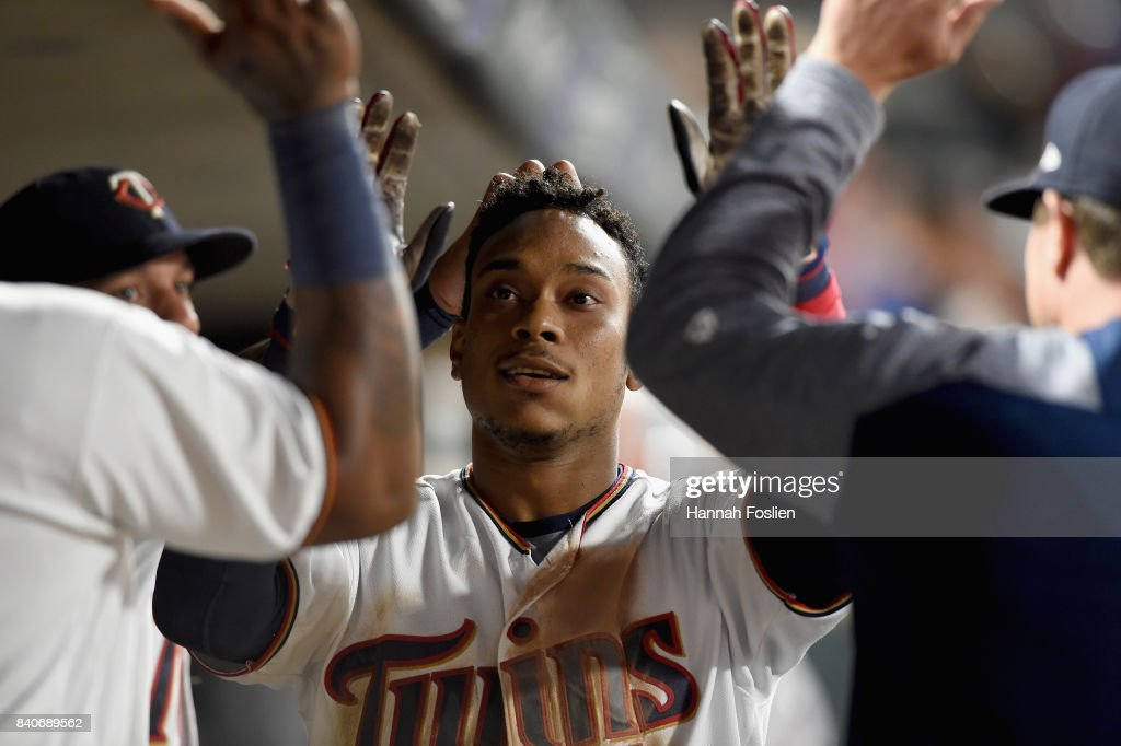 Jorge Polanco #11 of the Minnesota Twins celebrates hitting a solo home run against the Chicago White Sox during the seventh inning of the game on August 29, 2017 at Target Field in Minneapolis, Minnesota. The Twins defeated the White Sox 6-4.