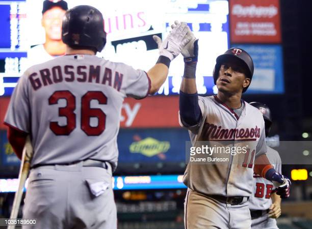 Jorge Polanco of the Minnesota Twins celebrates with Robbie Grossman of the Minnesota Twins after hitting a solo home run against the Detroit Tigers...