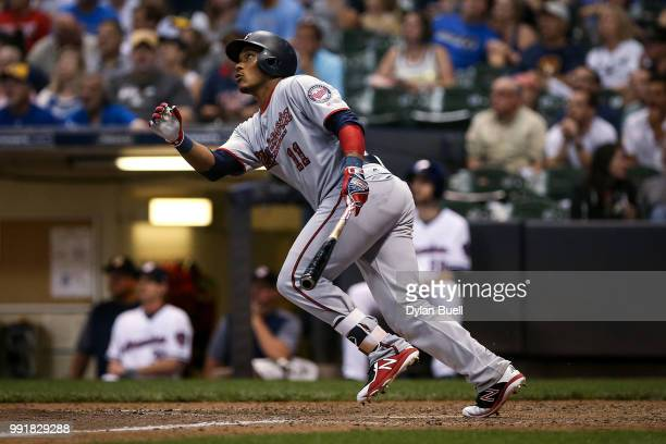 Jorge Polanco of the Minnesota Twins flies out in the eighth inning against the Milwaukee Brewers at Miller Park on July 2 2018 in Milwaukee Wisconsin