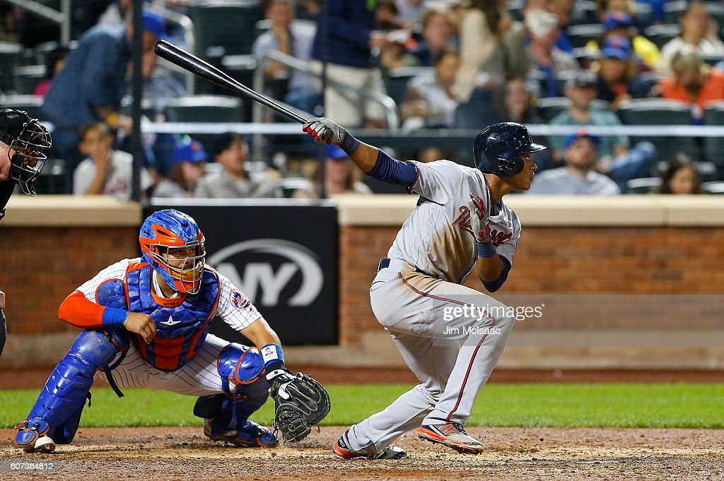 Jorge Polanco #11 of the Minnesota Twins follows through on a seventh inning double against the New York Mets at Citi Field on September 17, 2016 in the Flushing neighborhood of the Queens borough of New York City.