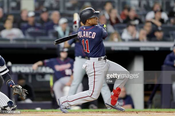 Jorge Polanco of the Minnesota Twins hits a home run against James Paxton of the New York Yankees during the first inning in game one of the American...