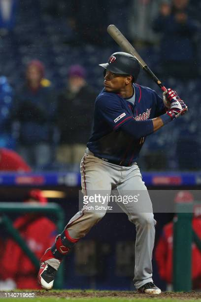 Jorge Polanco of the Minnesota Twins hits a single for his fifth hit against the Philadelphia Phillies during the ninth inning of a game at Citizens...
