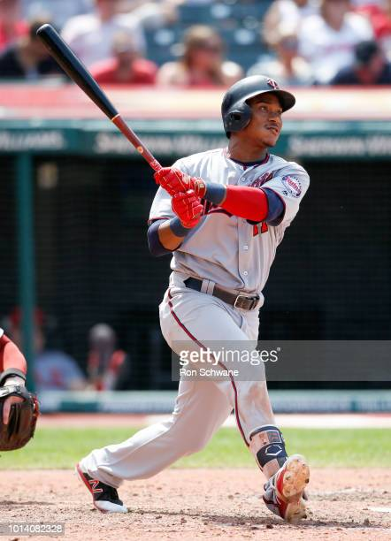 Jorge Polanco of the Minnesota Twins hits a three run home run off Starting pitcher Corey Kluber of the Cleveland Indians during the sixth inning at...