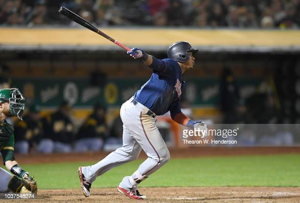Jorge Polanco of the Minnesota Twins hits a threerun rbi triple against the Oakland Athletics in the top of the six inning at Oakland Alameda...
