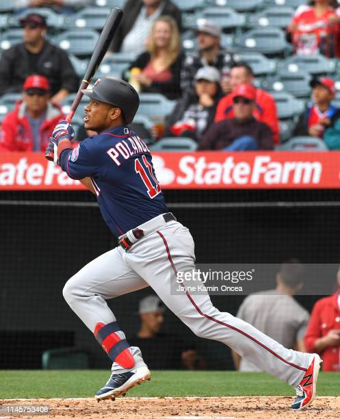 Jorge Polanco of the Minnesota Twins hits a two run home run off of Matt Harvey of the Los Angeles Angels of Anaheim in the second inning of the game...