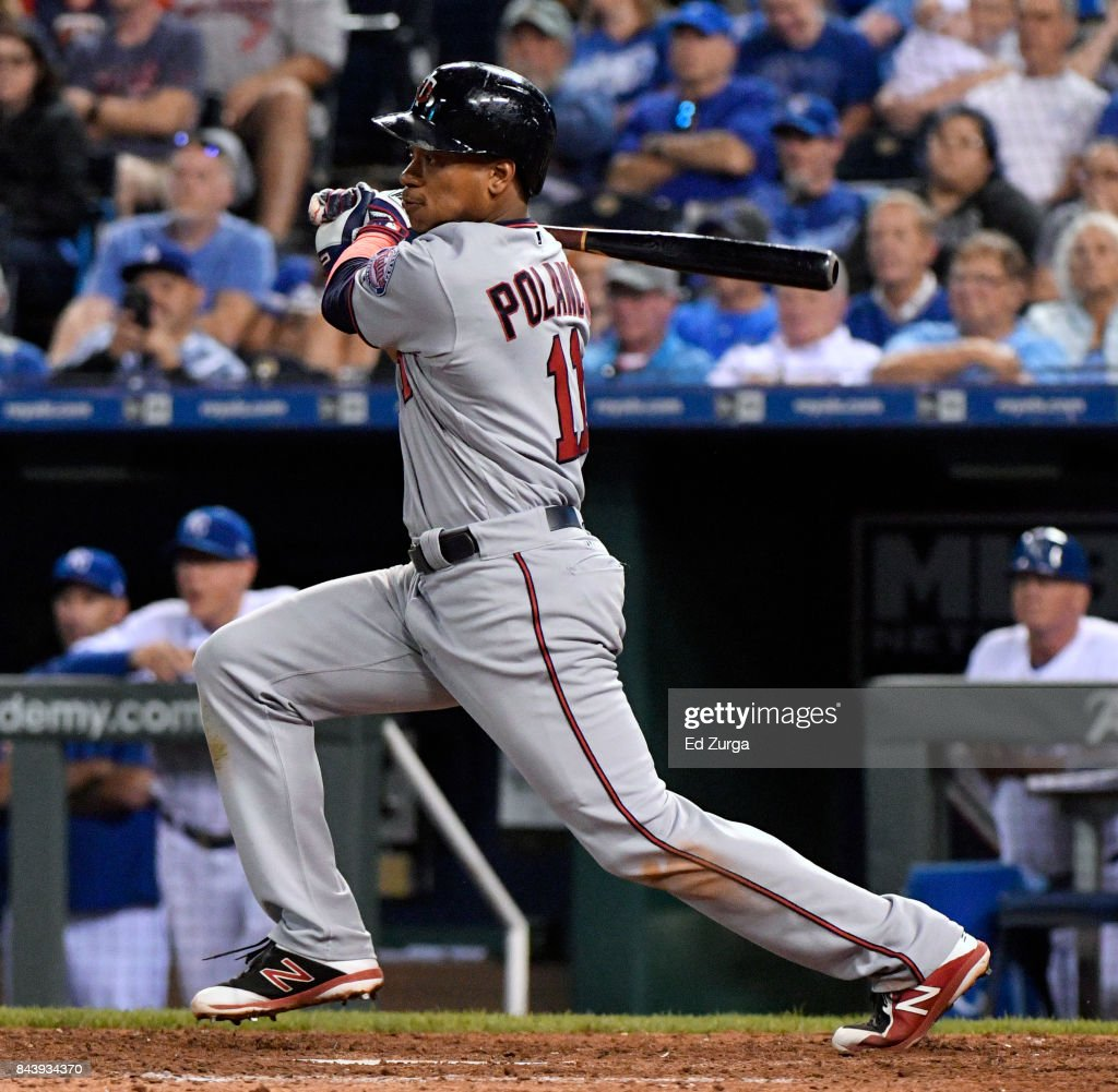Jorge Polanco #11 of the Minnesota Twins hits a two-run single in the ninth inning against the Kansas City Royals at Kauffman Stadium on September 7, 2017 in Kansas City, Missouri.