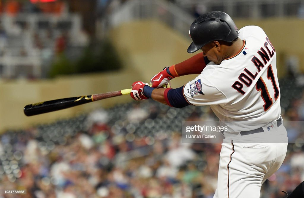 Jorge Polanco #11 of the Minnesota Twins hits an RBI double against the New York Yankees during the fourth inning of the game on September 11, 2018 at Target Field in Minneapolis, Minnesota. The Twins defeated the Yankees 10-5.