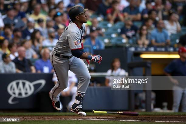 Jorge Polanco of the Minnesota Twins lines out in the second inning against the Milwaukee Brewers at Miller Park on July 2 2018 in Milwaukee Wisconsin
