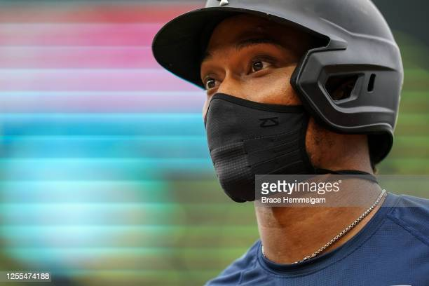 Jorge Polanco of the Minnesota Twins looks on during a summer camp workout on July 9 2020 at Target Field in Minneapolis Minnesota