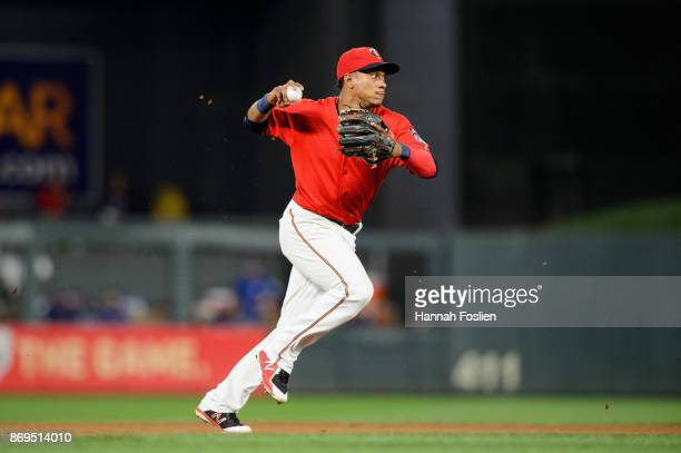 Jorge Polanco of the Minnesota Twins makes a play at shortstop against the Toronto Blue Jays during the game on September 15 2017 at Target Field in...