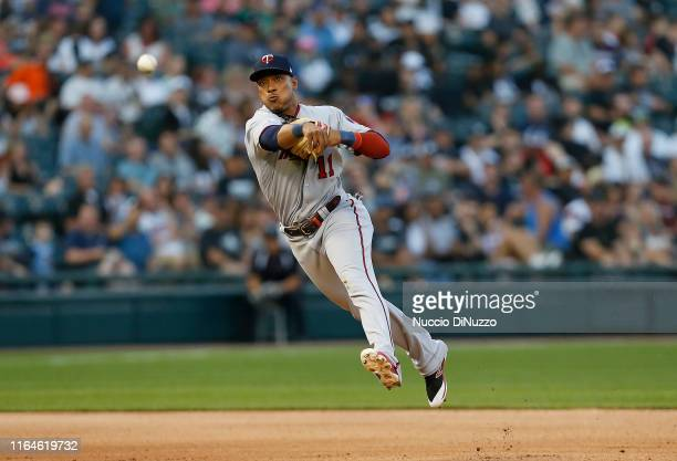 Jorge Polanco of the Minnesota Twins makes a throw to first base during the fourth inning of a game against the Chicago White Sox at Guaranteed Rate...