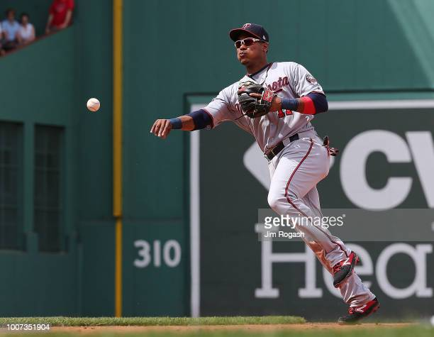 Jorge Polanco of the Minnesota Twins makes an assist against the Boston Red Sox in the sixth inning at Fenway Park on July 29 2018 in Boston...
