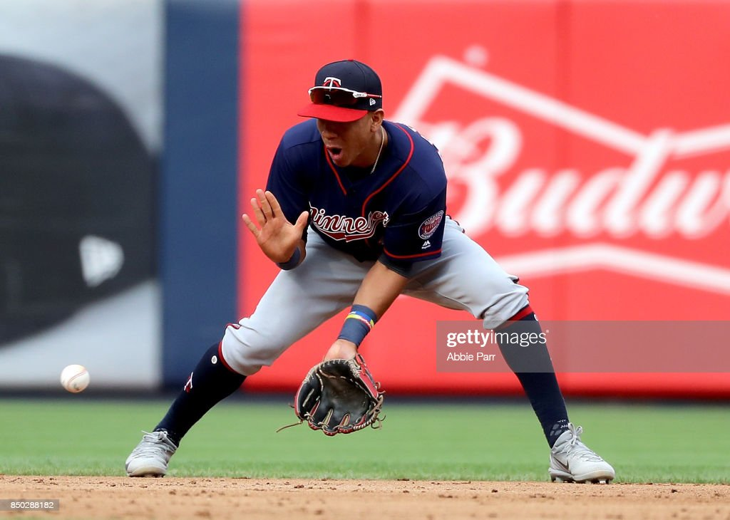 Jorge Polanco #11 of the Minnesota Twins makes an infield play in the eighth inning against the New York Yankees on September 20, 2017 at Yankee Stadium in the Bronx borough of New York City.