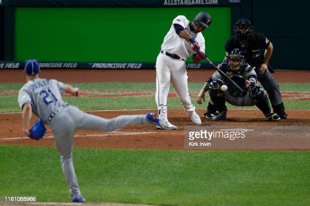 Jorge Polanco of the Minnesota Twins participates in the 2019 MLB AllStar Game at Progressive Field on July 09 2019 in Cleveland Ohio