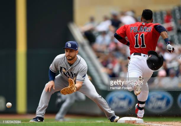 Jorge Polanco of the Minnesota Twins reaches first base after a bunt as Travis d'Arnaud of the Tampa Bay Rays fields the ball during the first inning...