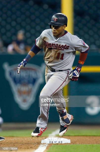 Jorge Polanco of the Minnesota Twins rounds third base after hitting a solo home run against the Detroit Tigers during the ninth inning at Comerica...