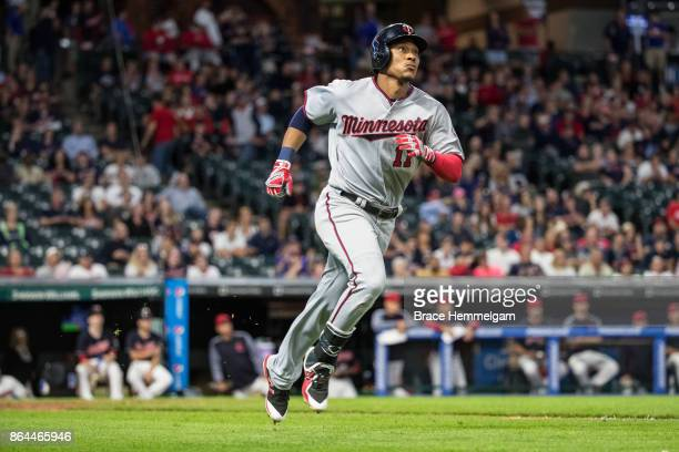 Jorge Polanco of the Minnesota Twins runs against the Cleveland Indians on September 27 2017 at Progressive Field in Cleveland Ohio The Indians...