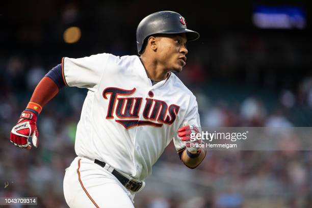 Jorge Polanco of the Minnesota Twins runs against the New York Yankees on September 10 2018 at Target Field in Minneapolis Minnesota The Yankees...