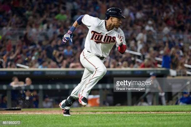 Jorge Polanco of the Minnesota Twins runs against the Toronto Blue Jays on September 14 2017 at Target Field in Minneapolis Minnesota The Twins...
