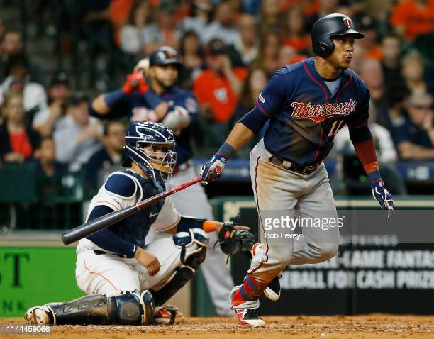 Jorge Polanco of the Minnesota Twins singles in a run in the sixth inning against the Houston Astros at Minute Maid Park on April 22 2019 in Houston...