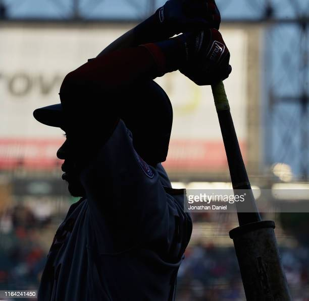 Jorge Polanco of the Minnesota Twins stands in the ondeck circle waiting to bat against the Chicago White Sox at Guaranteed Rate Field on July 25...