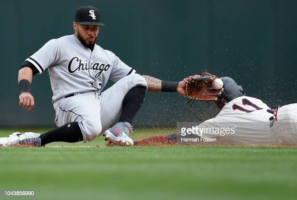 Jorge Polanco of the Minnesota Twins steals second base against Leury Garcia of the Chicago White Sox during the fifth inning of the game on...