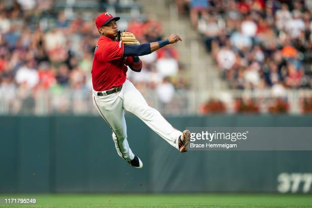 Jorge Polanco of the Minnesota Twins throws against the Chicago White Sox on August 20 2019 at the Target Field in Minneapolis Minnesota The Twins...