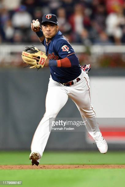 Jorge Polanco of the Minnesota Twins throws out Didi Gregorius of the New York Yankees at first base in the second inning of game three of the...